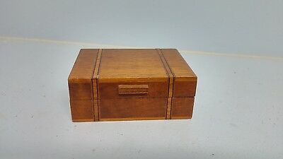 Small Inlaid Wood Box with Hinged Lid Vintage Antique Old