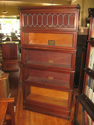 WE SHIP! Globe Wernicke Solid Mahogany 5 Stack Barrister Bookcase w/Leaded Glass