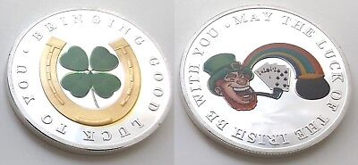 LUCKY Gold & Silver Coin Luck of the Irish Four Leaf Clover Horse Shoe Rainbow