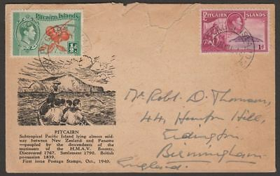 Pitcairn Islands 1948 KGVI ½d, 1d Used on Illustrated Cover