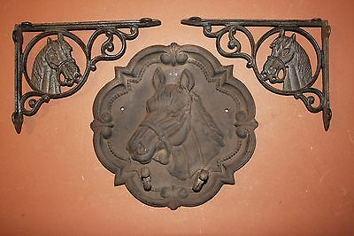 (3), Rustic Steakhouse Restaurant Decor, Cowboy, Western, Cast Iron Horse Plaque