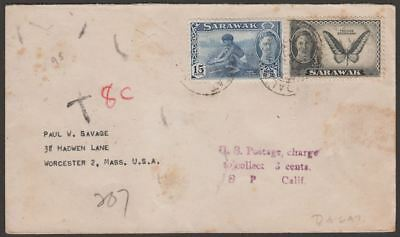 Sarawak 1955 KGVI 15c, 1c Used on Cover to USA with US 8c Postage Due Marks