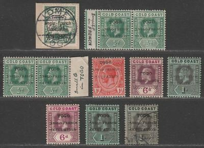 Togo 1914-16 KGV Overprint Selection to 1sh Mint