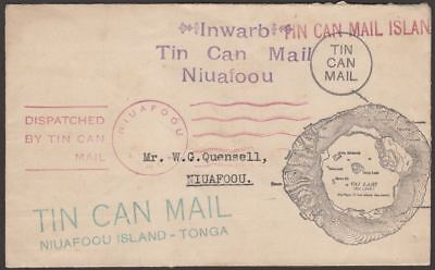 Tonga Tin Can Mail Incoming Cover Used Niuafoou with multi cachets inc Signature