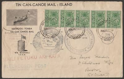 Tonga 1939 ½d x5 Tin Can Mail Cover Used to UK w Multi Cachets inc Signature