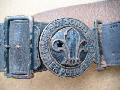 vintage Boy Scouts leather belt and belt buckle - set to 30 inch waist