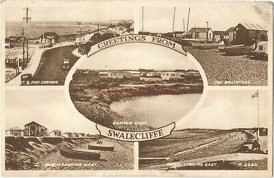 Kent Multiview Swalecliffe nr Whitstable 1955 Vintage Postcard