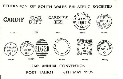 POSTCARD SHOWING CARDIFF POSTMARKS - 1710 TO 1900's..