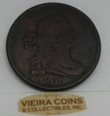 1806  Draped Bust Half Cent -  Mintage Only: 356,000 Coins -   #9923