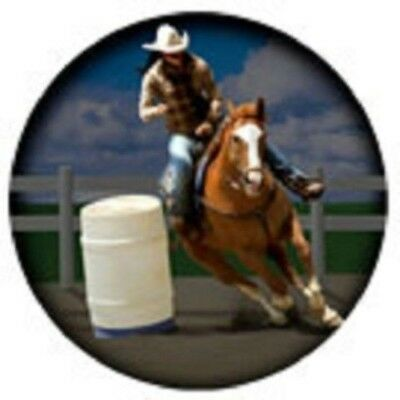 Vinyl BARREL RACER COWGIRL Horse Round Car/Truck Magnet