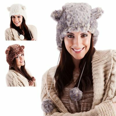 7bc3463a4c2 New Ladies Faux Fur Animal Print Trapper Hat With Ears Outdoor Winter  Accessory
