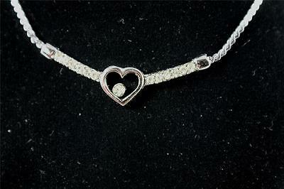 Job Lot X 5 White Gold Plated/Fine Link Necklace/Heart With Clear Bling/216/Uk