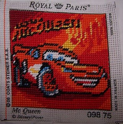 QUADRO Royal Paris CARS Mc Queen Ricamato a mezzo punto artigianale cm 12 x 12