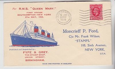 Gb Stamps 1936 Maiden Voyage Queen Mary Cover From Southampton From Collection