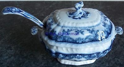 antique BOOTHS royal semi porcelain ROSA pattern LIDDED SAUCE TUREEN with LADLE