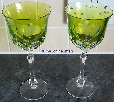 superb pair OF VARGA CRYSTAL cut yellow green SPRINGTIME WATER GLASS GOBLETS