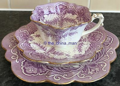 RARE pre SHELLEY WILEMAN porcelain EMPIRE CUP TRIO purple FERN 5178 pattern 4 av