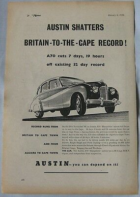 1950 Austin shatters record! Original advert
