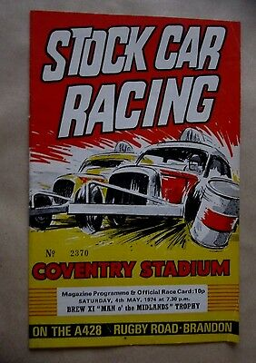 Coventry Stock Car Racing Brew XI 'Man O' The Midlands' Trophy 4th May 1974