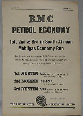 1957 BMC Petrol Economy Original advert
