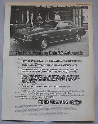 1982 Ford Mustang Ghia 3.3 Automatic Original advert