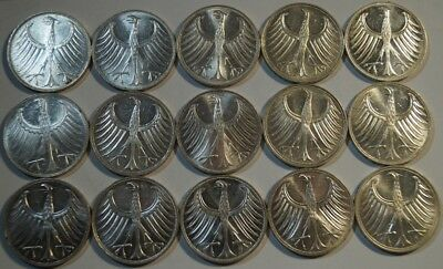 Lot, Germany - 5 Mark 1966-1972, 15 Silver Coins