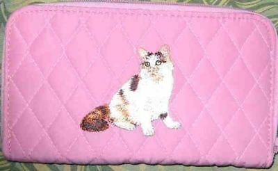 Q wallet CALICO LONG HAIR CAT Quilted Fabric Zip Around Brown Wallet