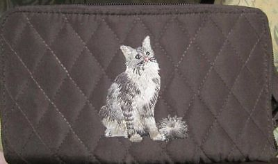 Q wallet GREY LONGHAIR CAT Sitting Quilted Fabric Zip Around Brown Wallet