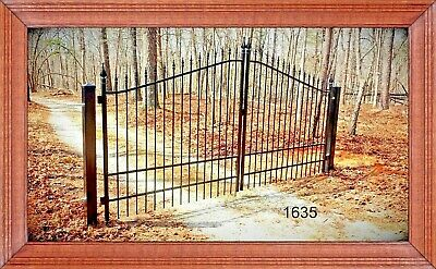 Wrought Iron Style Steel Driveway Entry Gate 11 FT Wide Dual Swing Residential