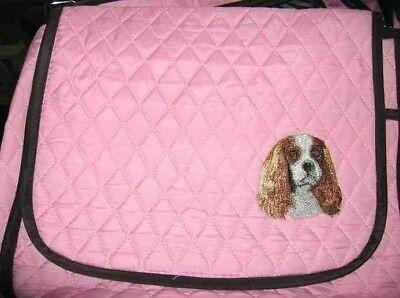 Q purse CAVALIER KING CHAR Quilted Pink Microfiber Fabric Purse Messenger/Tablet