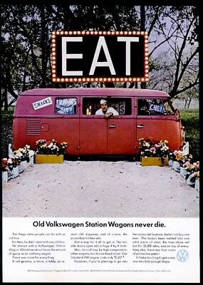 1966 VW Bus microbus as diner photo Volkswagen 11x8 vintage print ad