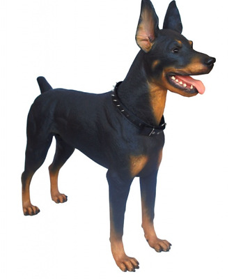 Doberman Life Size Resin Statue Figurine Sculpture Guard Dog Prop