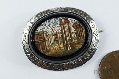 Antique Silver Hand Crafted Temple Of Vespasian Micro Mosaic Brooch