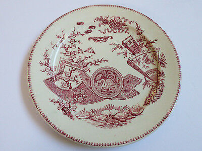 Antique 1880 Japanese Grindley & C Tunstall Red on White  Plate Transferware