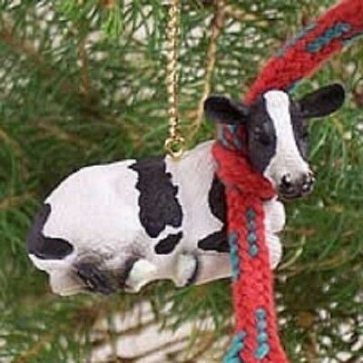 Small Resin HOLSTEIN COW Farm Animal Xmas Tiny Ornament