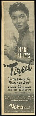 1956 Pearl Bailey photo Verve Records vintage trade print ad