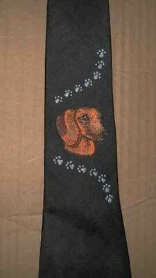 Mens Necktie DACHSHUND RED HEAD Hand-Decorated Nice Quality