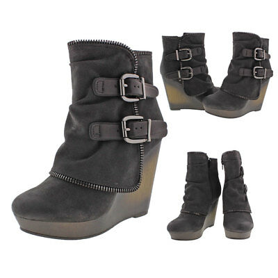 Not Rated Gemini Women's Wedge Buckle Booties Boots