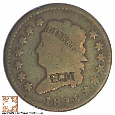 1814 Classic Head Large Cent *Condition: Graffiti *XB95