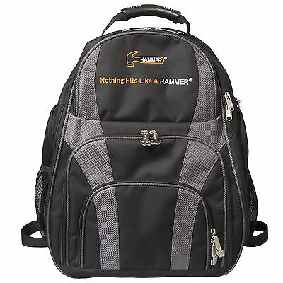 Hammer DEUCE 2 Ball Backpack Bowling Bag Color Carbon Black HOLDS 2 BALLS