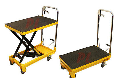 "Heavy Duty Mobile 330LB Hydraulic Table Lift 9"" to 28"" Jack Cart"