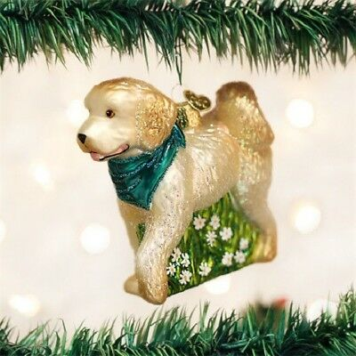 Old World Christmas DOODLE DOG LABRADOODLE Blown Glass Ornament