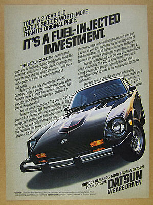 1978 Datsun 280-Z 280Z black car color photo vintage print Ad