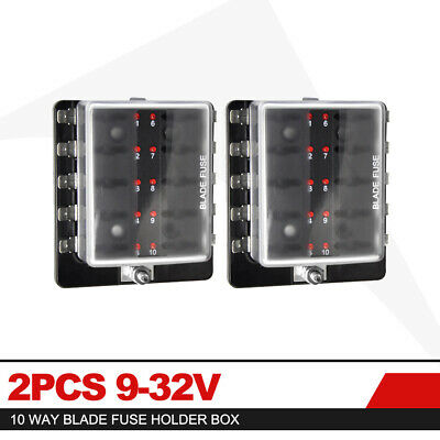 2x10 Way Blade Fuse Box Block Holder LED Indicator for Car Marine 12V 24V MA1286