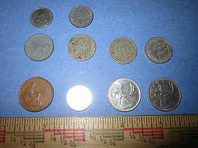 Vintage Coin Lot of 10 Various Dates United States Canada World Small Collection