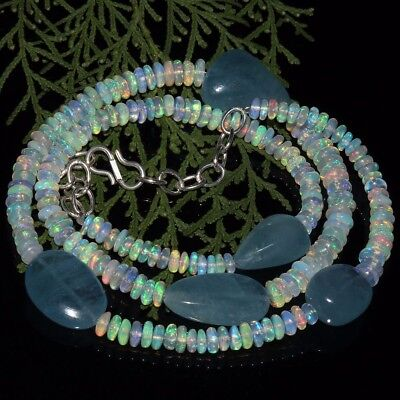 144 Cts Natural Ethiopian Welo Fire Opal Beads Aquamarine Tumble Necklace ##1