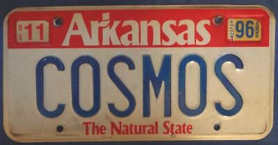 1996 ARKANSAS VANITY License Plate COSMOS LONG OBSOLETE Check It OUT! NO RESERVE