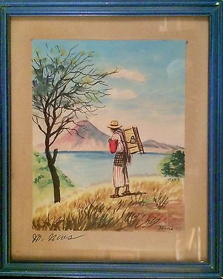 1960s Watercolor Lake Atitlán, Sololá Region, Guatemala signed M. Neves