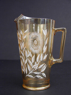 Vintage Jeanette Glass Company 2-quart Carnival Iridescent Glass Pitcher, Cosmos