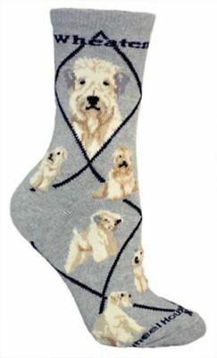 Adult Size Medium SOFT-COATED WHEATEN Adult Socks/Grey Made in USA